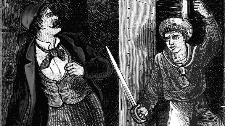 Vintage bromas en una ilustración de 'The Aldine' O'er Land and Sea '.