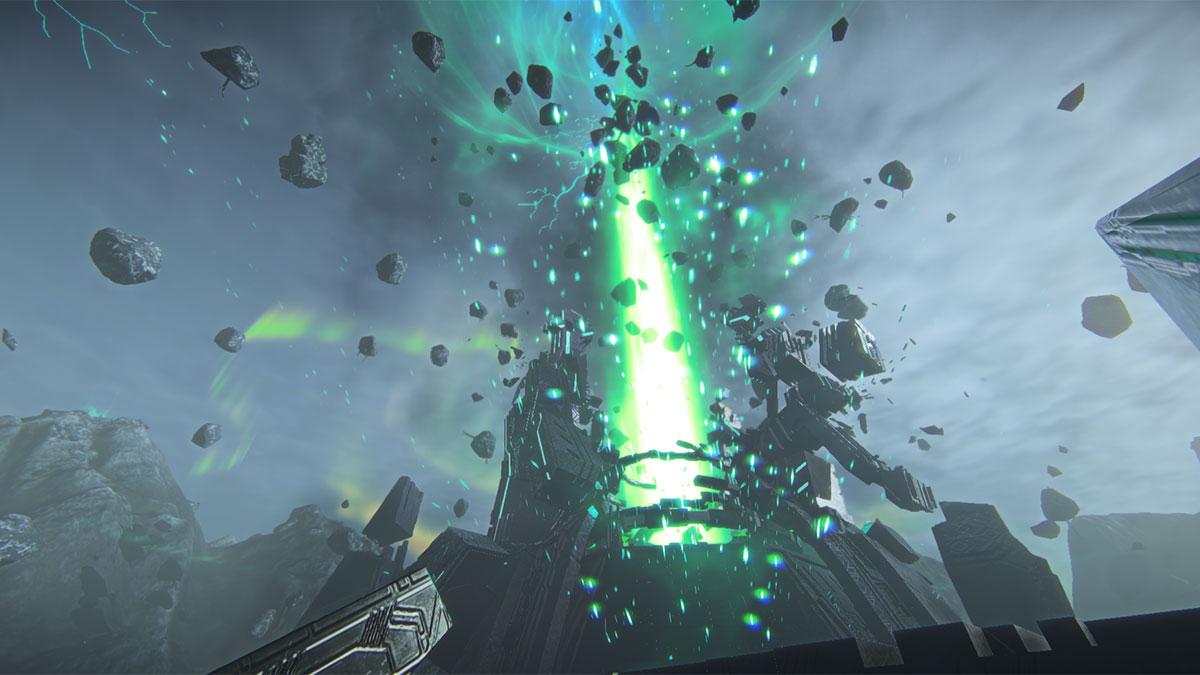 Un rayo vertical de energía verde destruye un warpgate, que es un edificio con forma de cúpula vaga, al menos hasta que es explotado por un rayo vertical de energía verde.
