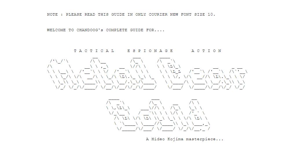 Arte ASCII que lee 'Metal Gear Solid' y está diseñado para que parezca que las letras son 3D