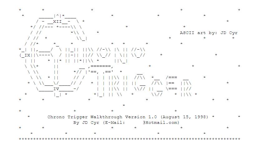 Arte ASCII del título de Chrono Trigger, incluido el hecho de que la C parece un gran reloj