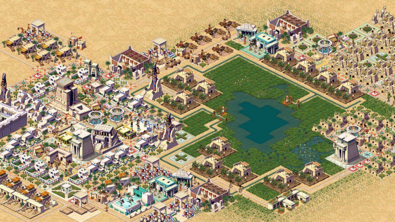 Una captura de pantalla promocional de Pharaoh: A New Era que muestra una ciudad en una vista isométrica de arriba hacia abajo.  Hay un barrio más rico de casas bonitas a la izquierda, algunas casas menos bonitas a la derecha y graneros y otros edificios municipales alrededor de un lago o estanque en el medio.