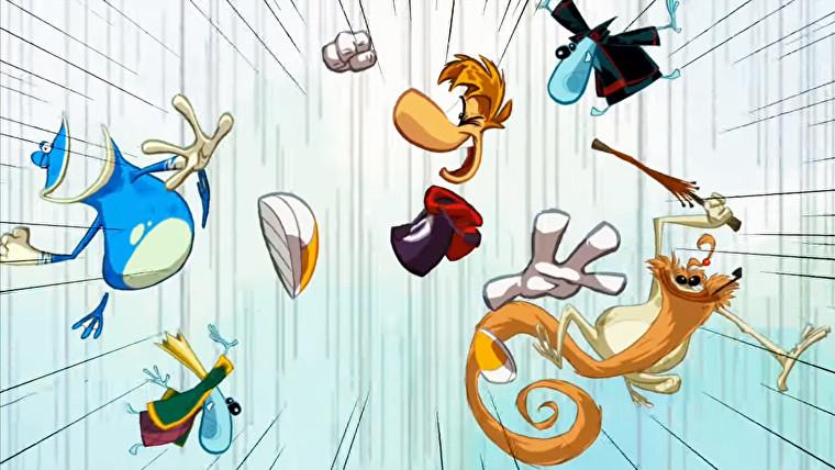Captura de pantalla de Rayman Origins que muestra a Rayman preparándose para golpear a alguien con sus amigos