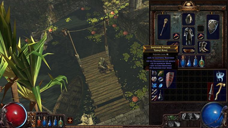 El personaje de Path Of Exile mira el inventario