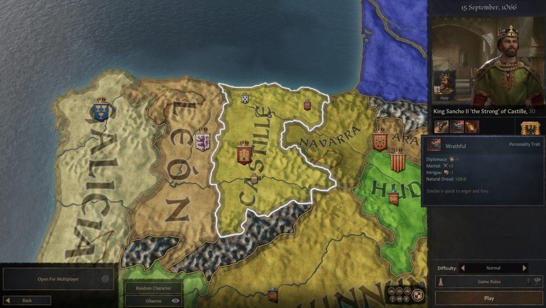 Una pantalla de mapa Crusader Kings 3, que muestra el norte de España, con un rey cruzado en la parte superior derecha, quién soy yo.