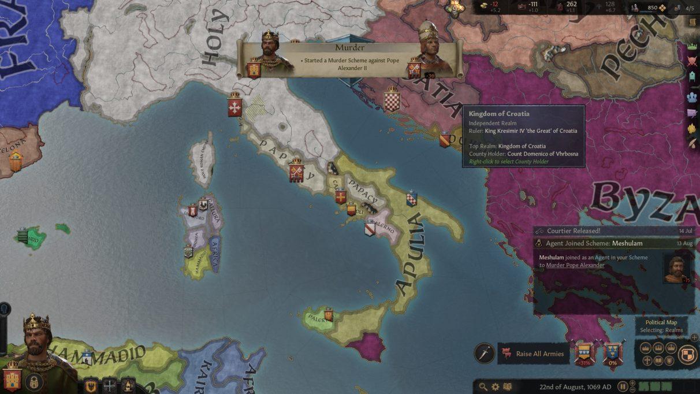 Una vista aérea de Italia, con el anuncio de que Sancho intentará matar al Papa.