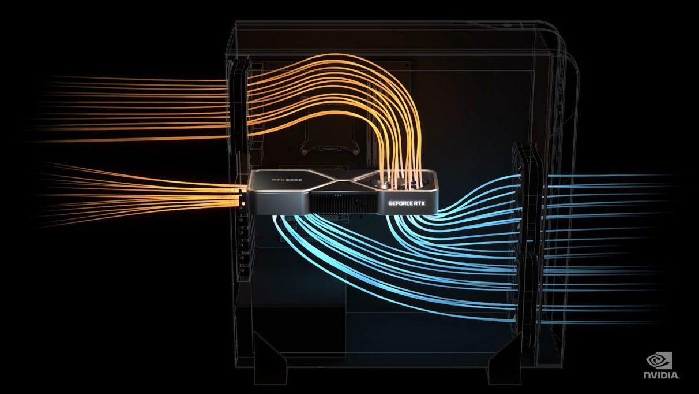 Una imagen que muestra el flujo de aire simulado dentro de la carcasa de su PC con un RTX 3080.