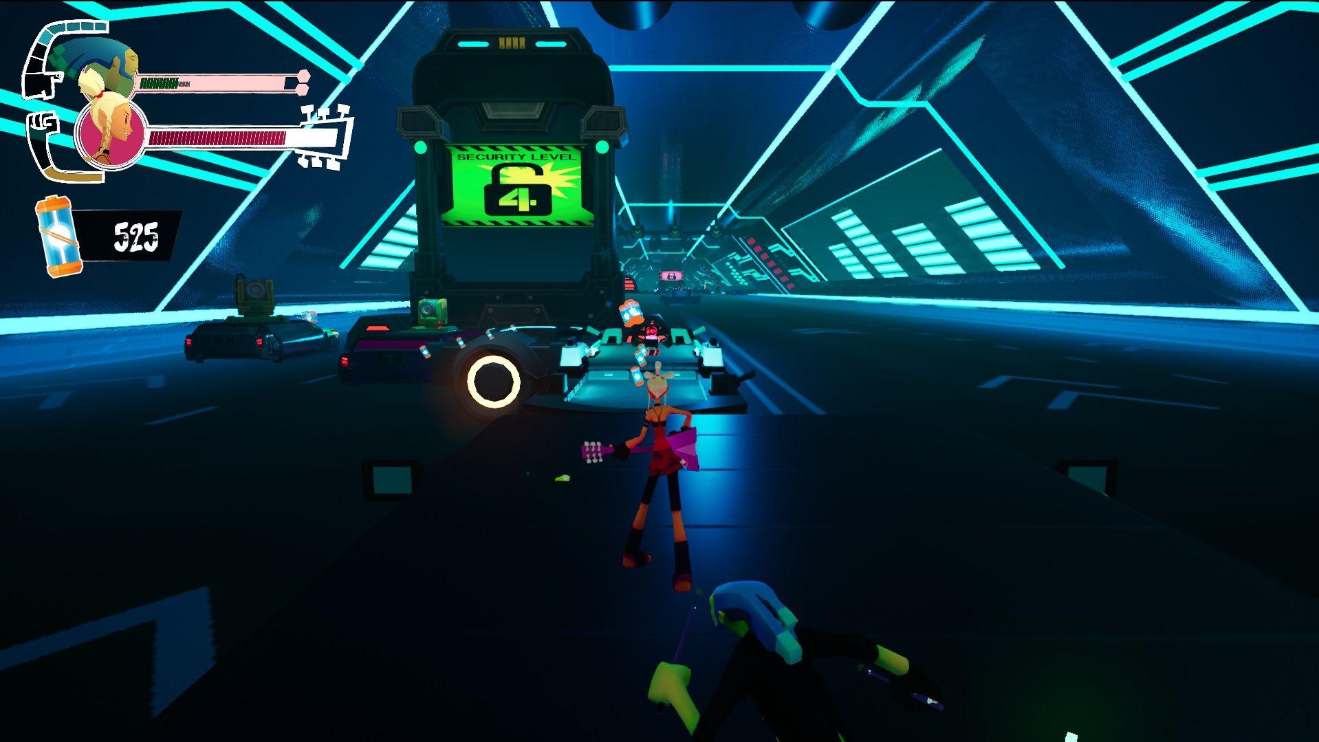 Una captura de pantalla de una sección de plataformas de más adelante en No Straight Roads.  El jugador, como Mayday, está de pie en una plataforma con el estilo de una limusina negra, en lo que parece un túnel subterráneo lleno de otras limusinas.