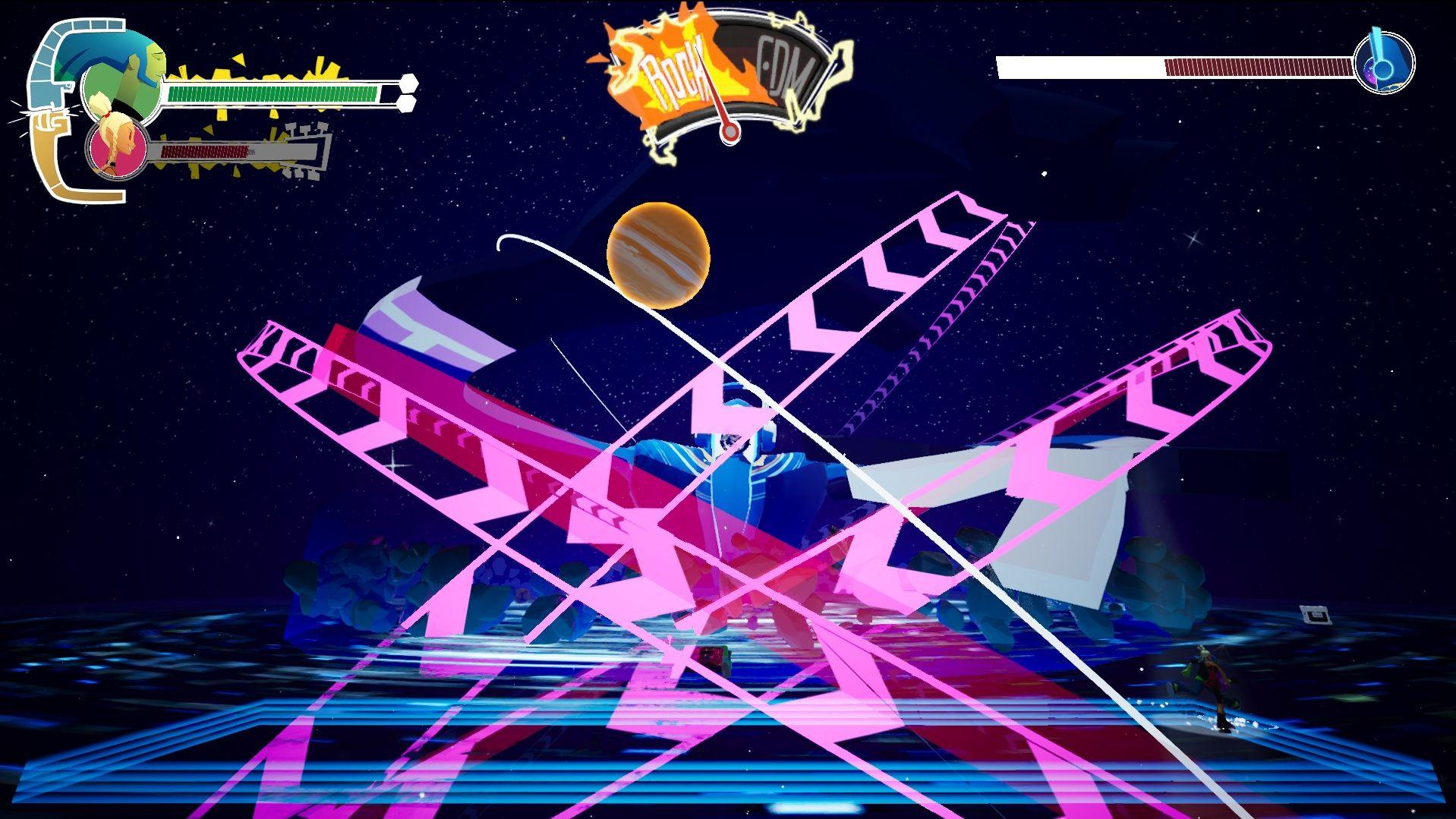 Una captura de pantalla de la primera pelea de jefes en No Straight Roads.  En el centro de la pantalla, un gran robot con una bola de discoteca por cabeza está haciendo girar a su alrededor otras bolas de discoteca con forma de planetas, como si fuera el centro del universo.  Los jugadores deben evitar su camino, telegrafiados por flechas rosas.