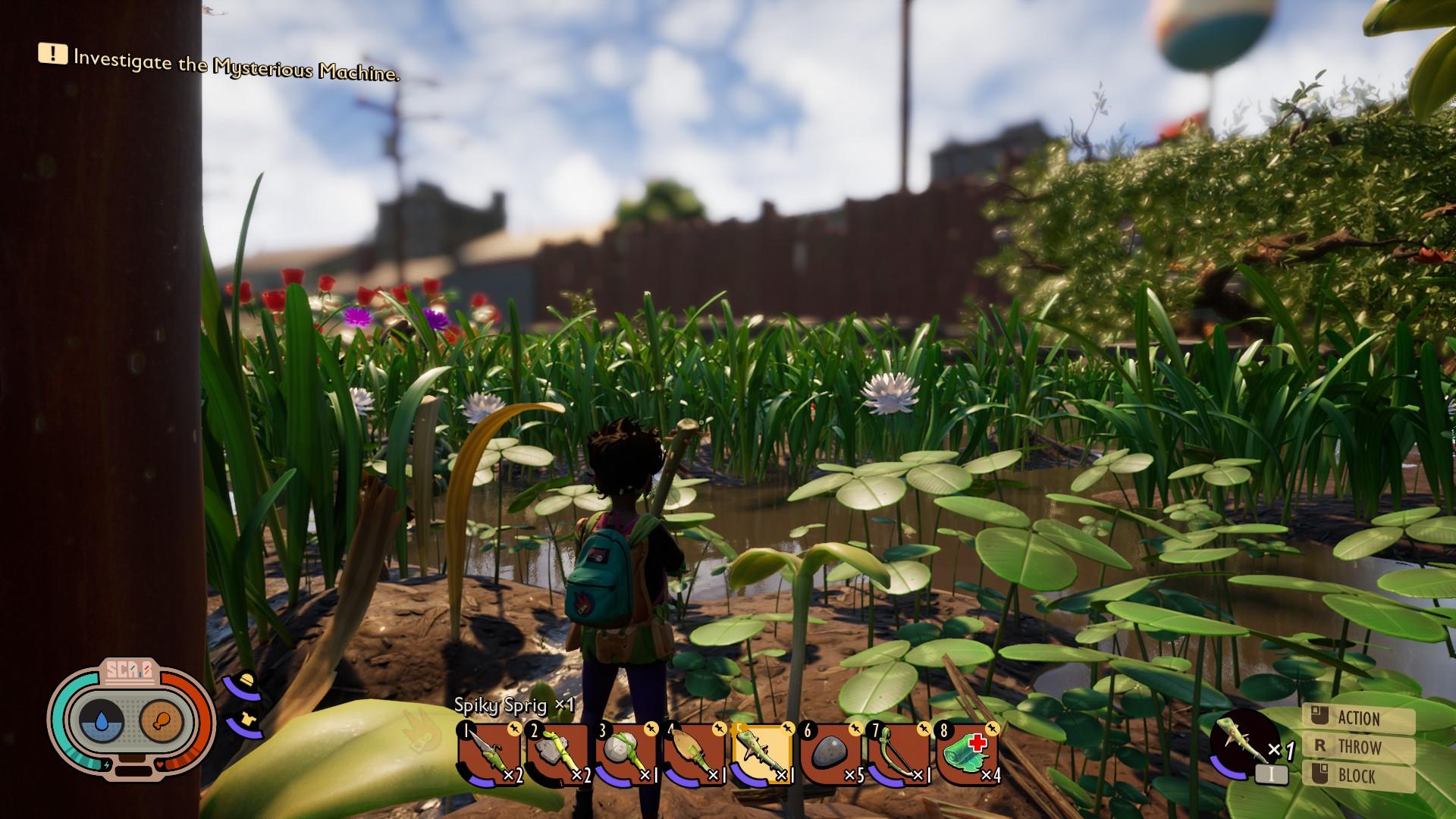 El jugador mira desde un parche de trébol, sobre un estanque salobre.