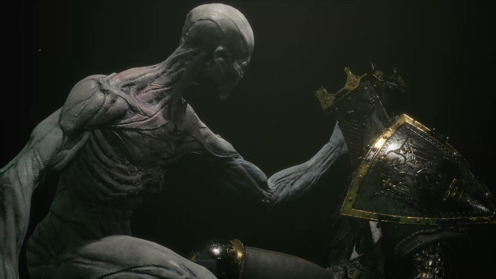 El personaje del jugador extiende su mano hacia el caparazón de Eredrim.