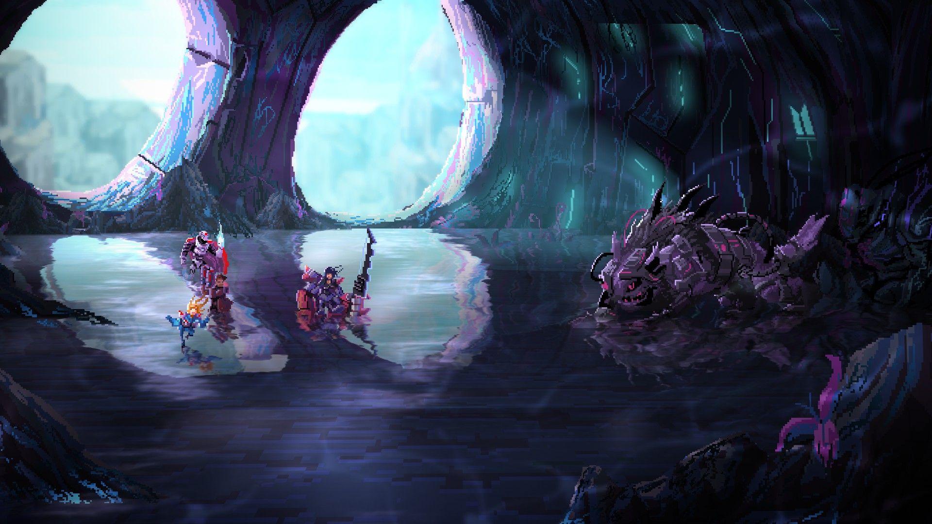 Una captura de pantalla de Star Renegades que muestra al equipo del jugador en una cueva, a punto de atacar lo que parece ser un gran robot lagarto.