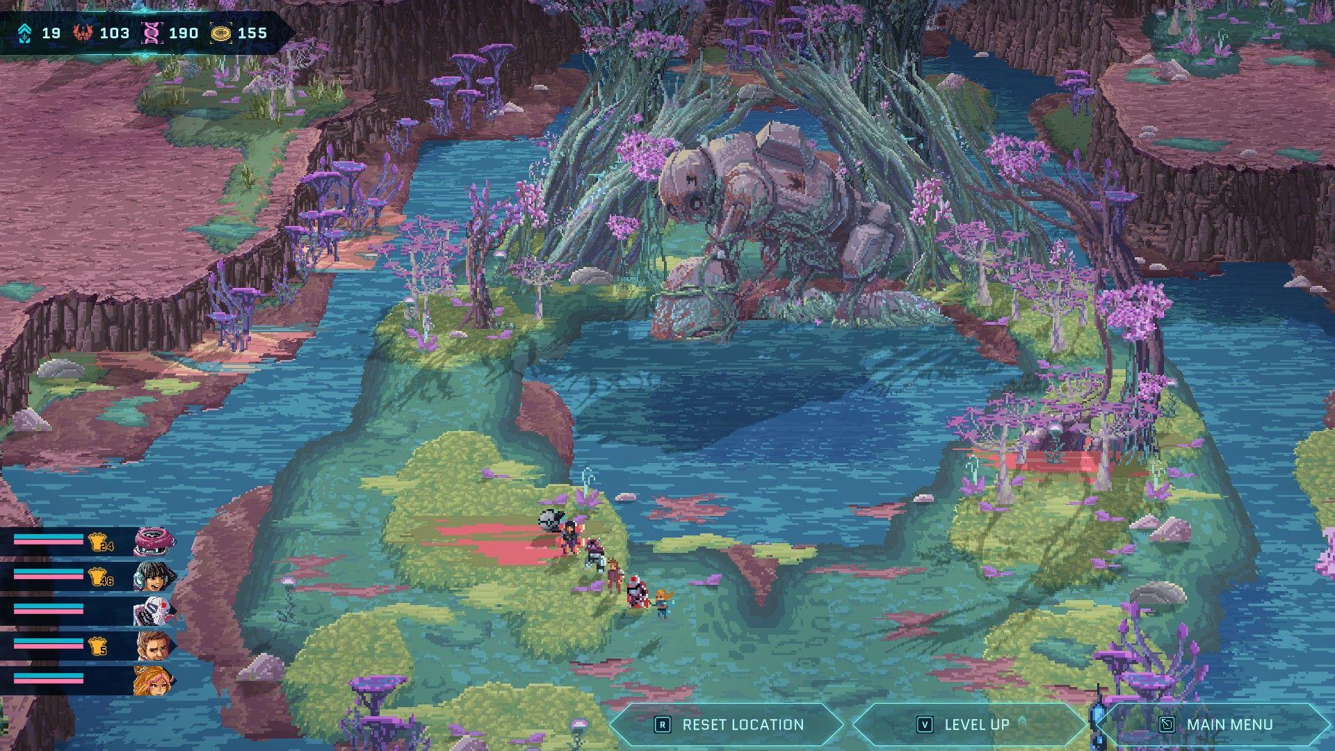 Una captura de pantalla del mapa más amplia de Star Renegades que muestra al equipo caminando por la orilla cubierta de musgo de un lago o estanque.  En la orilla opuesta hay un robot oxidado gigante inclinado sobre el agua.