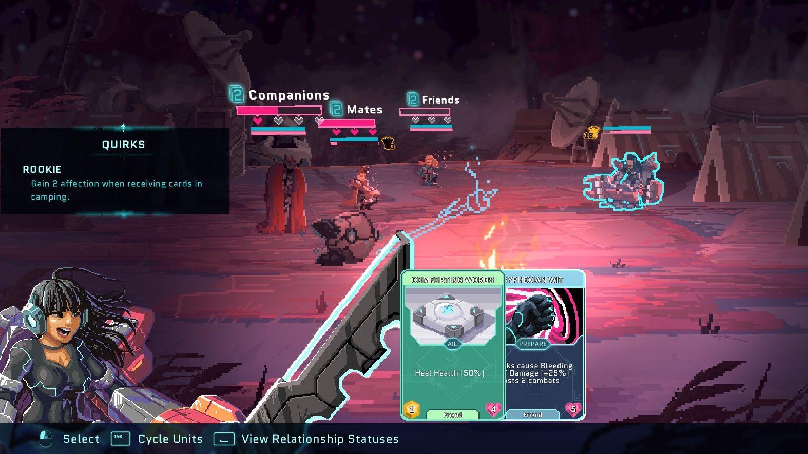 Una captura de pantalla de la fogata en Star Renegades, que muestra el estado de la relación entre los personajes.