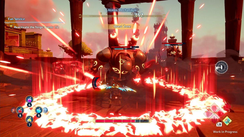 Una captura de pantalla de Fenyx de Immortals Fenyx Rising en una pelea con un gran robot.  Fenyx acaba de asestar un golpe con su ataque especial de martillo, y ha dejado un anillo rojo explosivo de área de efecto alrededor de ella y su enemigo.