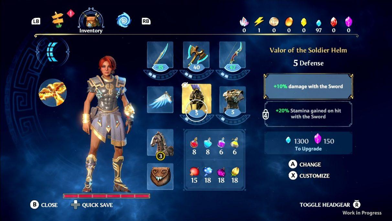 Una captura de pantalla de la pantalla de equipo en Immortals Fenyx Rising, que muestra espacios para equipar una espada, un hacha y un arco, un casco y armadura, y un caballo de su elección.