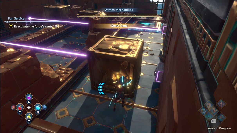 Una captura de pantalla de Fenyx en medio de la resolución de un rompecabezas en Immortals Fenyx Rising.  Empujan un gran bloque de metal en el camino de algunos láseres.  Más bloques y láseres en diferentes niveles son visibles en el lado izquierdo