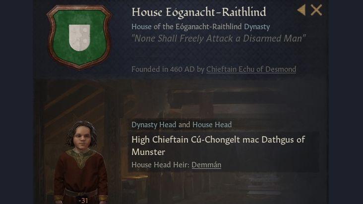 Una pantalla resumen de la Casa Eogonachy-Raithlind, fundada en el 460 d.C., con su lema y una imagen del jefe de la casa, el Gran Cacique Cú-Chongelt mac Dathgus de Munster, un niño con una túnica roja.