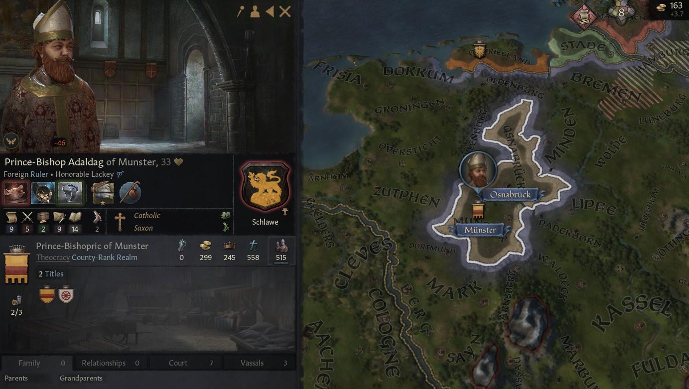 Un mapa geográfico que ubica a la Casa Shlawe en Munster.  A la izquierda está el único miembro de la dinastía, el príncipe-obispo Adaldag de Munster, un hombre de mediana edad de aspecto bastante cálido y barba larga.