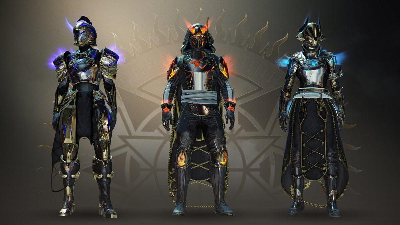 La armadura Solstice of Heroes de Destiny 2, brillando con energía elemental.