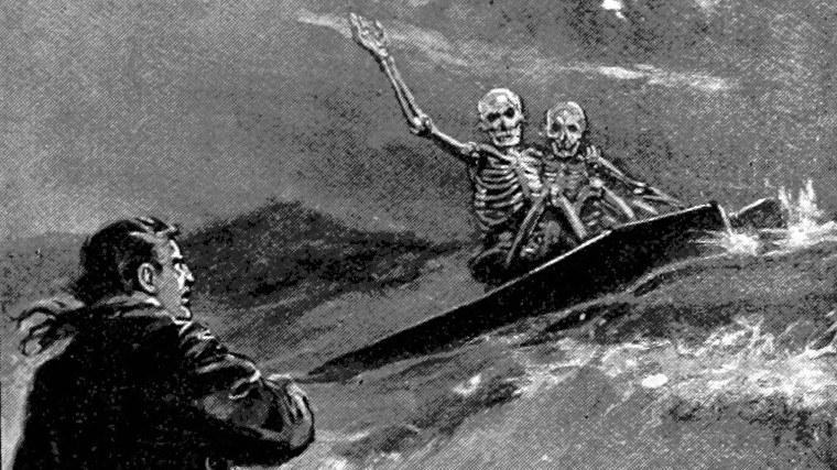 Los esqueletos atrapan una gran ola en sus ataúdes en esta ilustración de 'The Story Hunter o Tales of the weird and wild'.