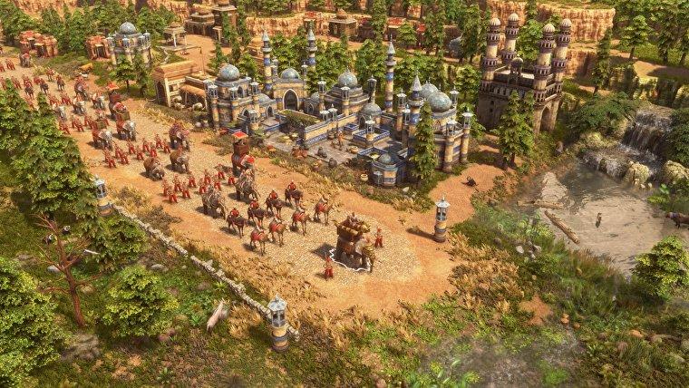 Tropas en marcha en una captura de pantalla de Age Of Empires 3: Definitive Edition.