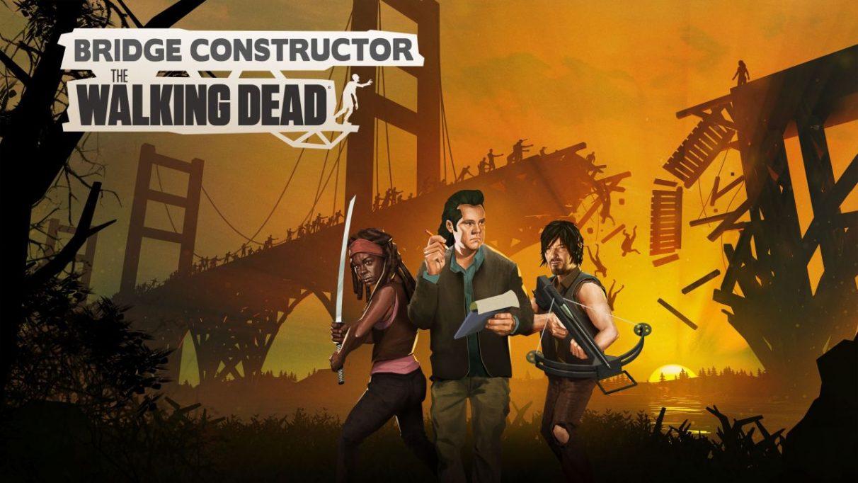 Una pieza de arte clave promocional para Bridge Constructor: The Walking Dead.  Muestra a Michonne, Eugene y Daryl de pie con las armas levantadas mientras, en el fondo, un puente que se parece al puente Golden Gate se derrumba bajo el peso de muchos zombis.