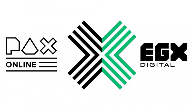Una captura de pantalla del logotipo de PAX X EGX, que son los títulos de PAX y EGX con una gran X negra y verde entre ellos