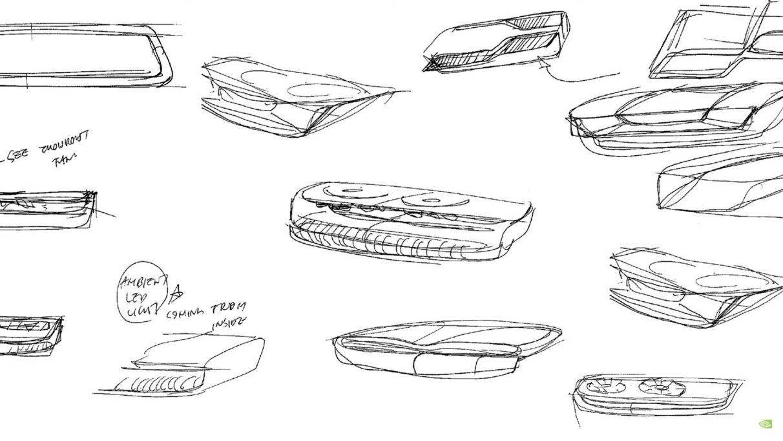 Bocetos simples a lápiz de diseños de tarjetas gráficas Nvidia.