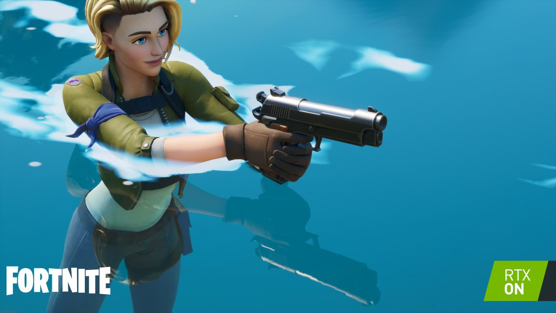 Una captura de pantalla que muestra reflejos con trazado de rayos en Fortnite.