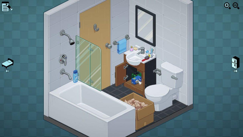 Un baño, con una caja a medio desembalar.  Tiene un combo de inodoro, ducha / bañera y lavabo.  Guardo una caja de tampones debajo del fregadero, junto a un botiquín de primeros auxilios.  Hay demasiados artículos de aseo personal dispuestos alrededor del borde del fregadero.