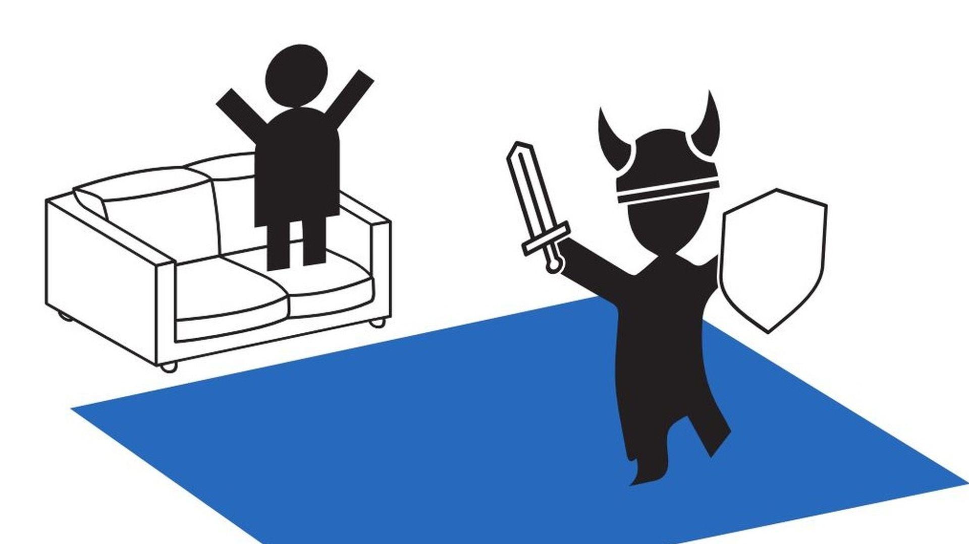 Una ilustración de dos stickmen jugando VR.  Uno está en un sofá, mirando al otro pretender ser un vikingo