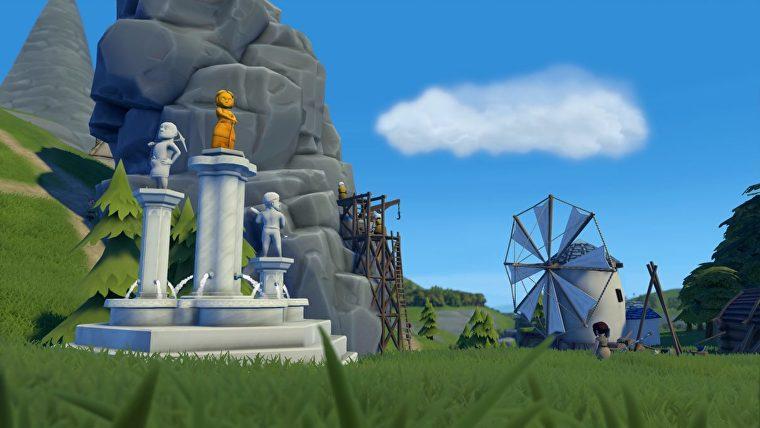 Una captura de pantalla de la Fundación que muestra una maravilla, en este caso una gran estatua que celebra a los trabajadores de la ciudad.