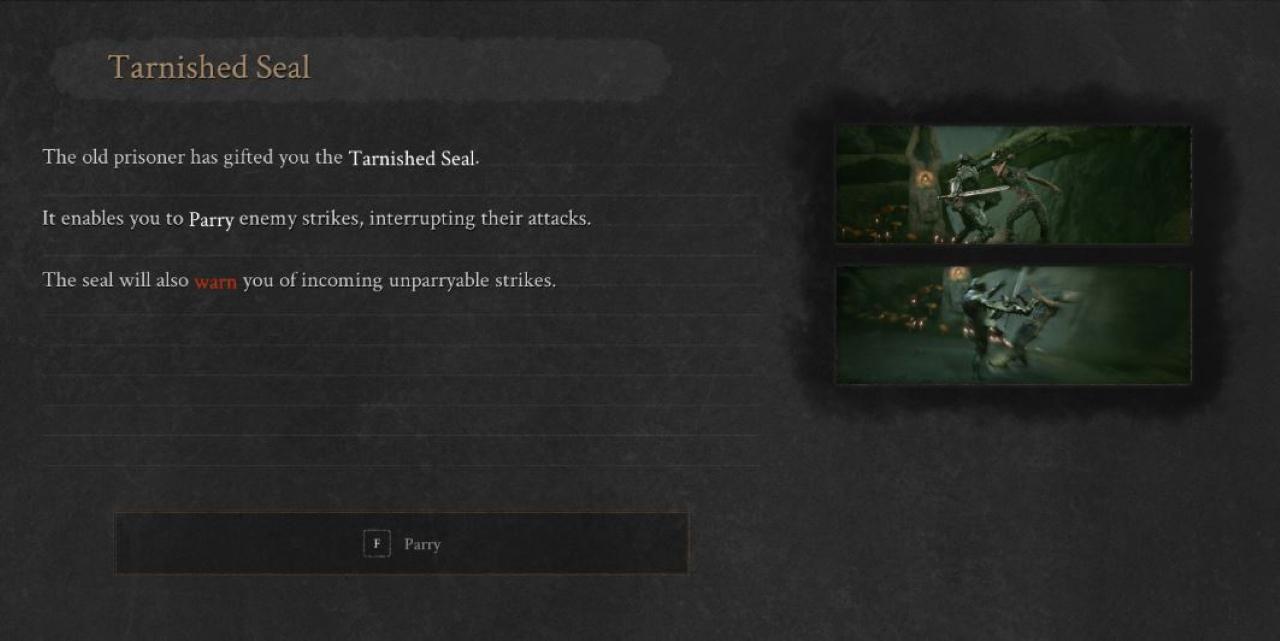 Una imagen de tutorial que muestra a los jugadores cómo usar el Sello deslustrado en combate.  Muestra al personaje del jugador parando un ataque enemigo y siguiéndolo con una respuesta.