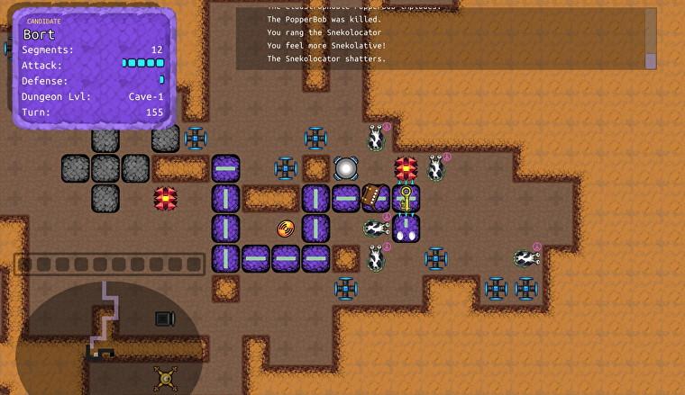 Una vista de arriba hacia abajo de una mazmorra basada en cuadrículas, llena de extrañas criaturas abstractas.  El jugador es una larga serpiente morada hecha de cuadrados, y ha rodeado una gran babosa.