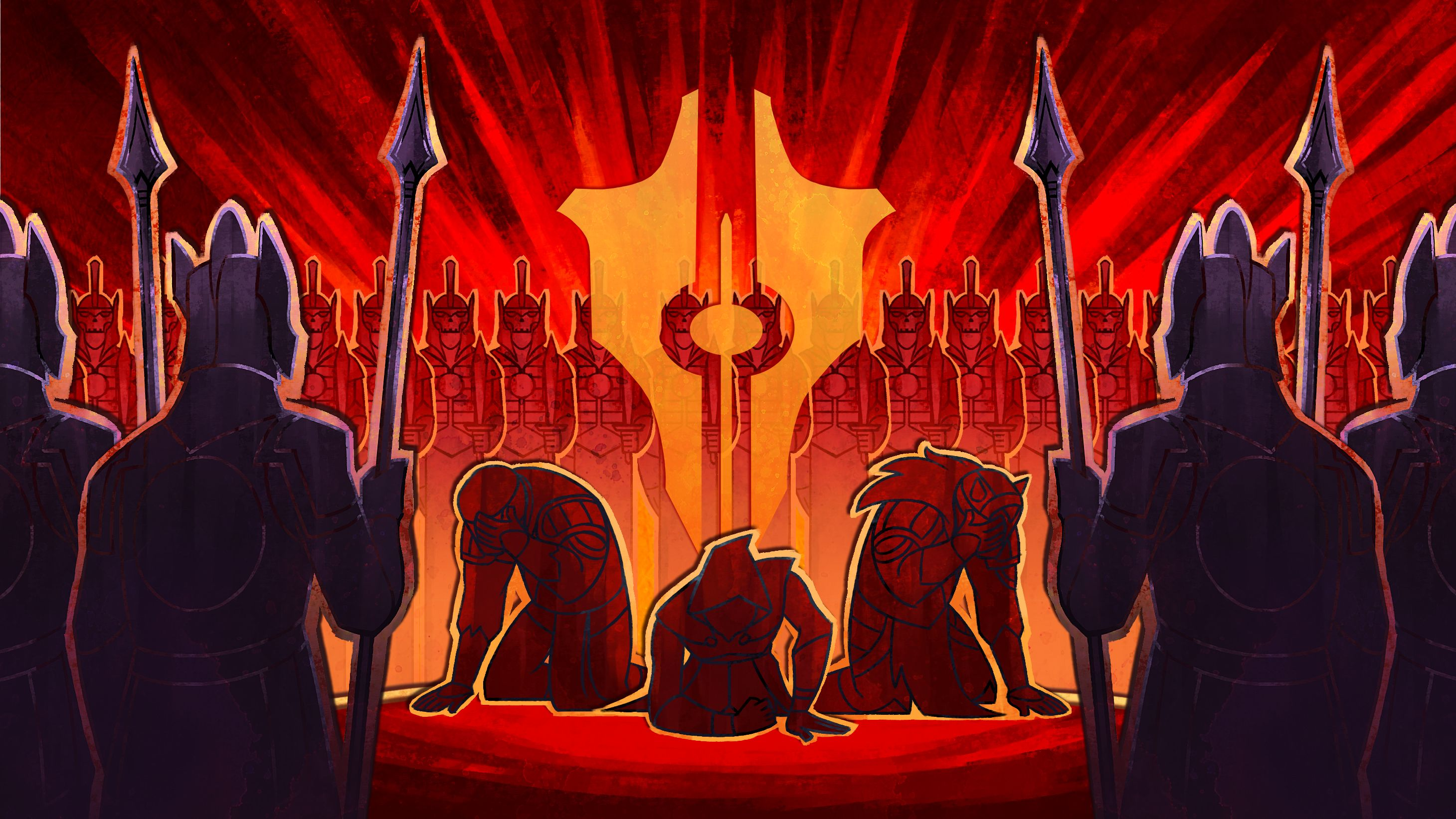 Una captura de pantalla de Tyranny que muestra a tres personas arrodilladas y luciendo subyugadas, mientras están rodeadas por un ejército de esqueletos amenazadores.