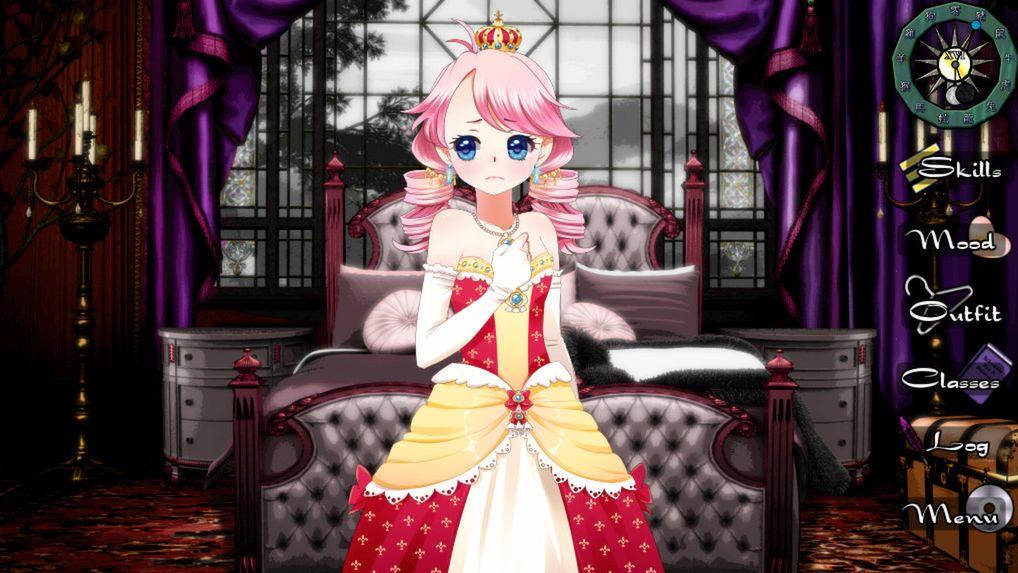 Una captura de pantalla de la reina en Long Live The Queen.  Ella es una mujer muy joven con un vestido amarillo y rojo y una expresión nerviosa.