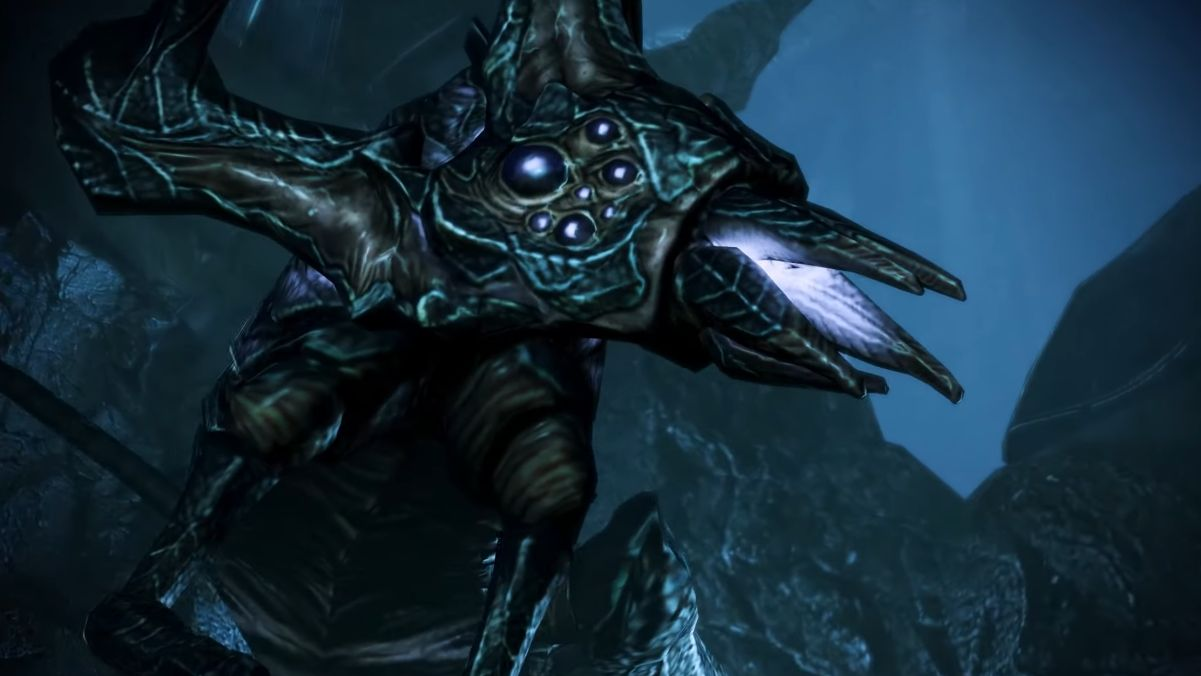 Una captura de pantalla de la Reina Rachni de Mass Effect, que se parece a un percebe cruzado con un escorpión araña.