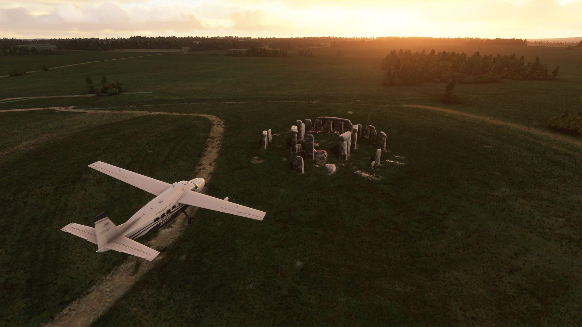 Un Microsoft Flight Simulator.  Un avión sobrevuela Stonehenge durante el solsticio.