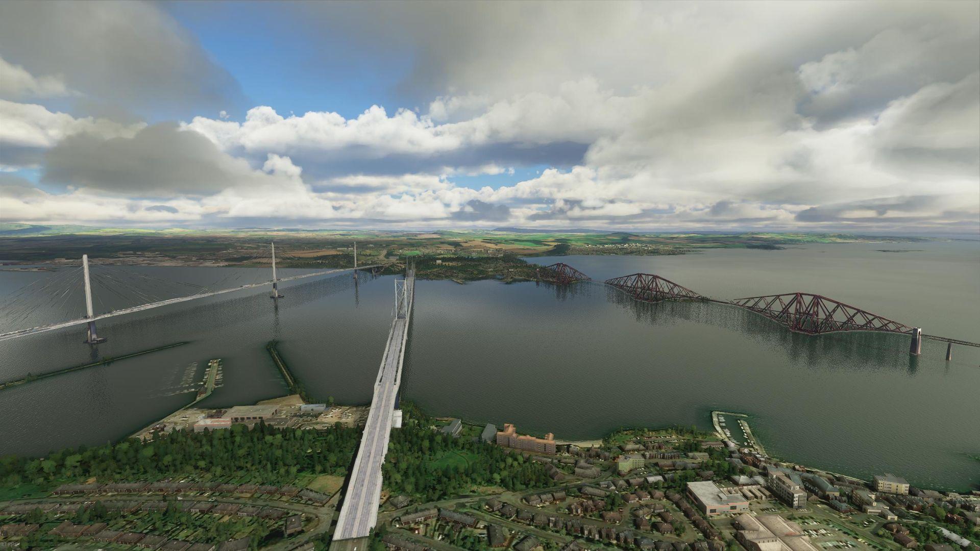 Un Microsoft Flight Simulator que muestra los tres puentes que cruzan el río Forth de Escocia