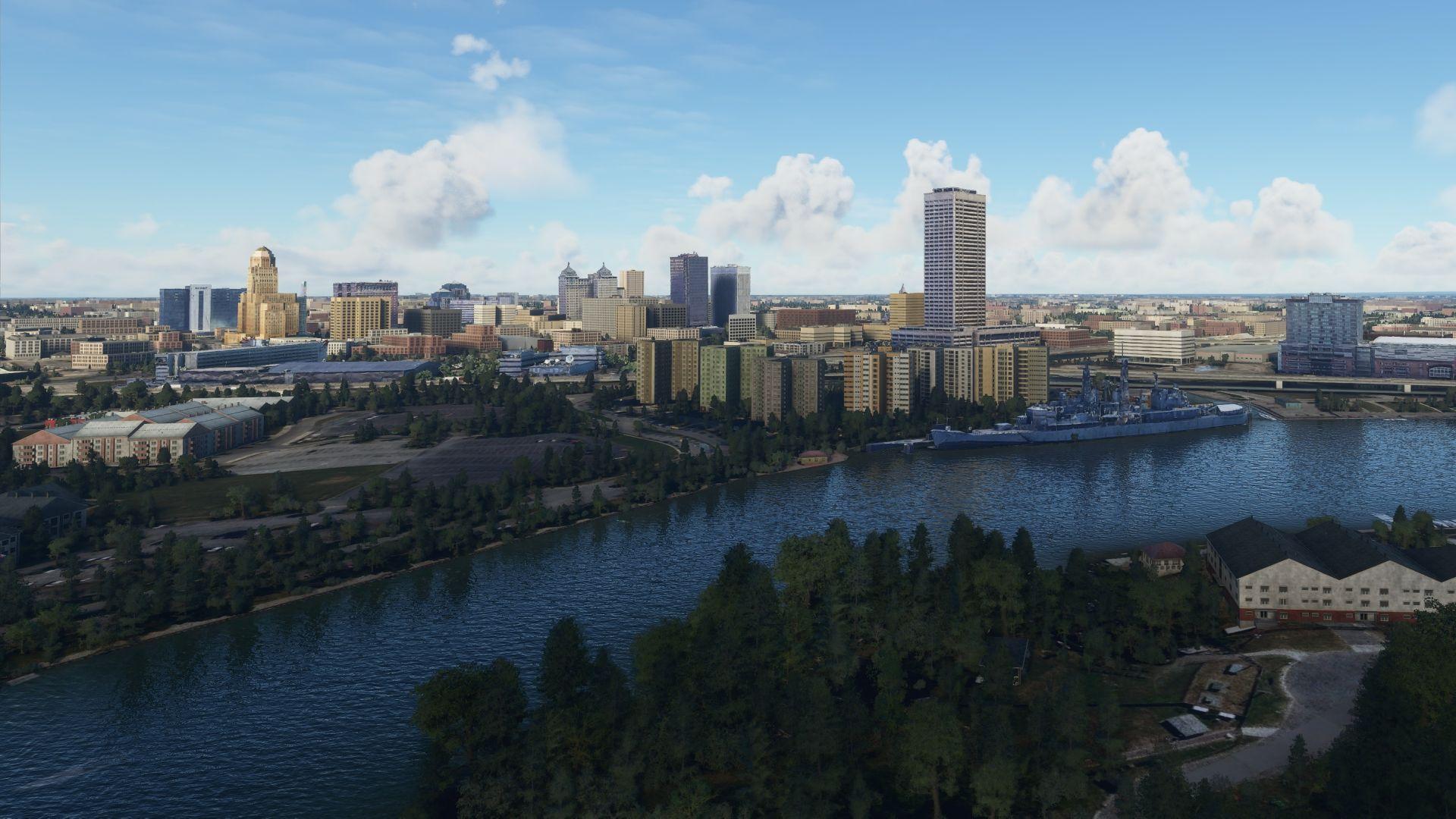 Una captura de pantalla de Microsoft Flight Simulator.  Muestra la ciudad de Buffalo, Nueva York.  El mod ha agregado edificios precisos al juego.