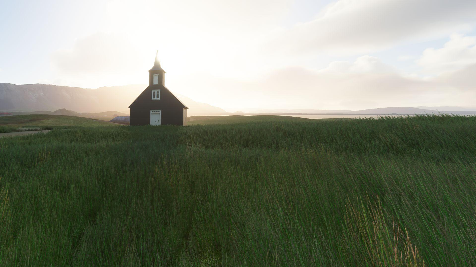 Una captura de pantalla de Microsoft Flight Simulator que muestra una sola iglesia de madera en Islandia