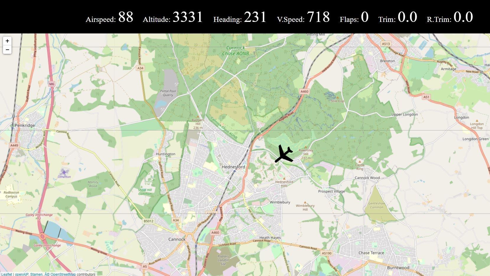 Una captura de pantalla de VFRMap.  El complemento muestra una imagen de Open Street Map con un icono de plano superpuesto