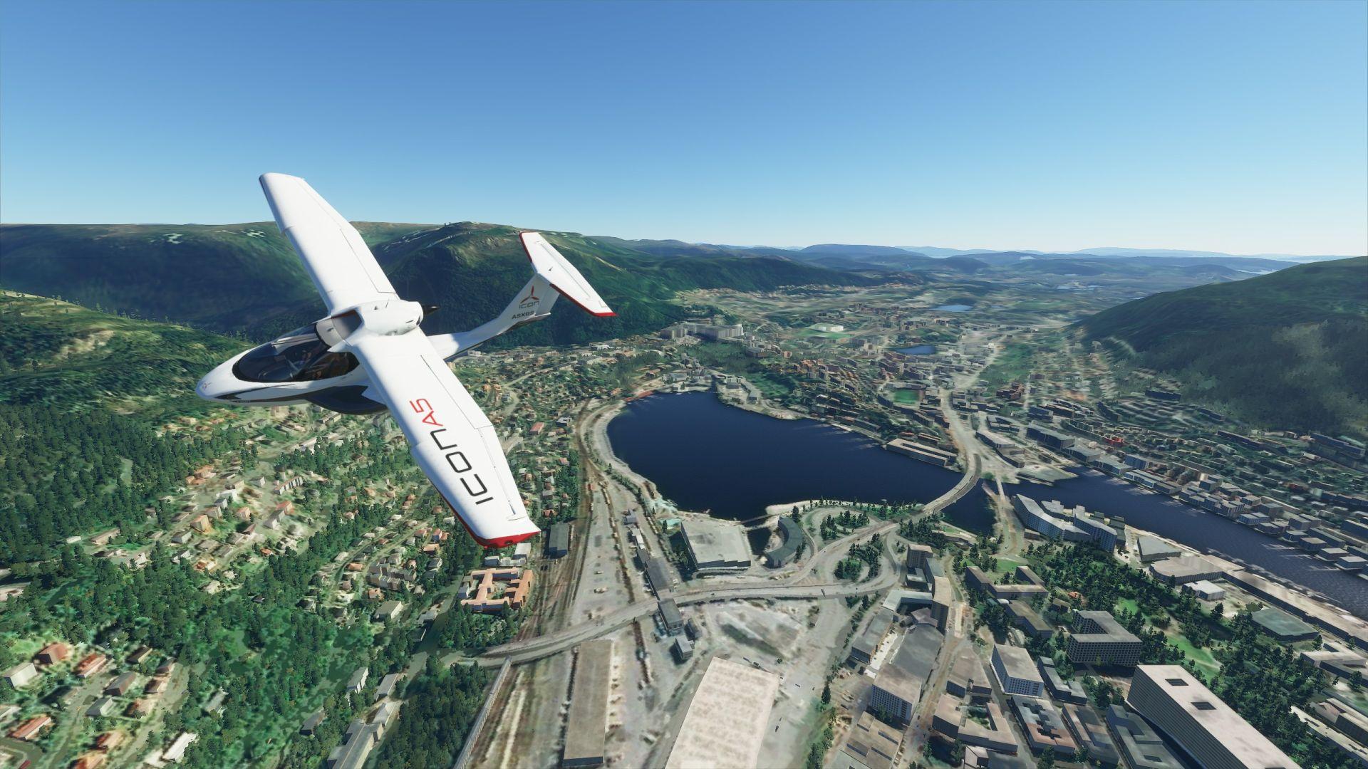 Una captura de pantalla de Microsoft Flight Simulator.  Un avión sobrevuela Bergen en Noruega.  A continuación se muestra una pequeña ciudad con muchos lagos y ríos.
