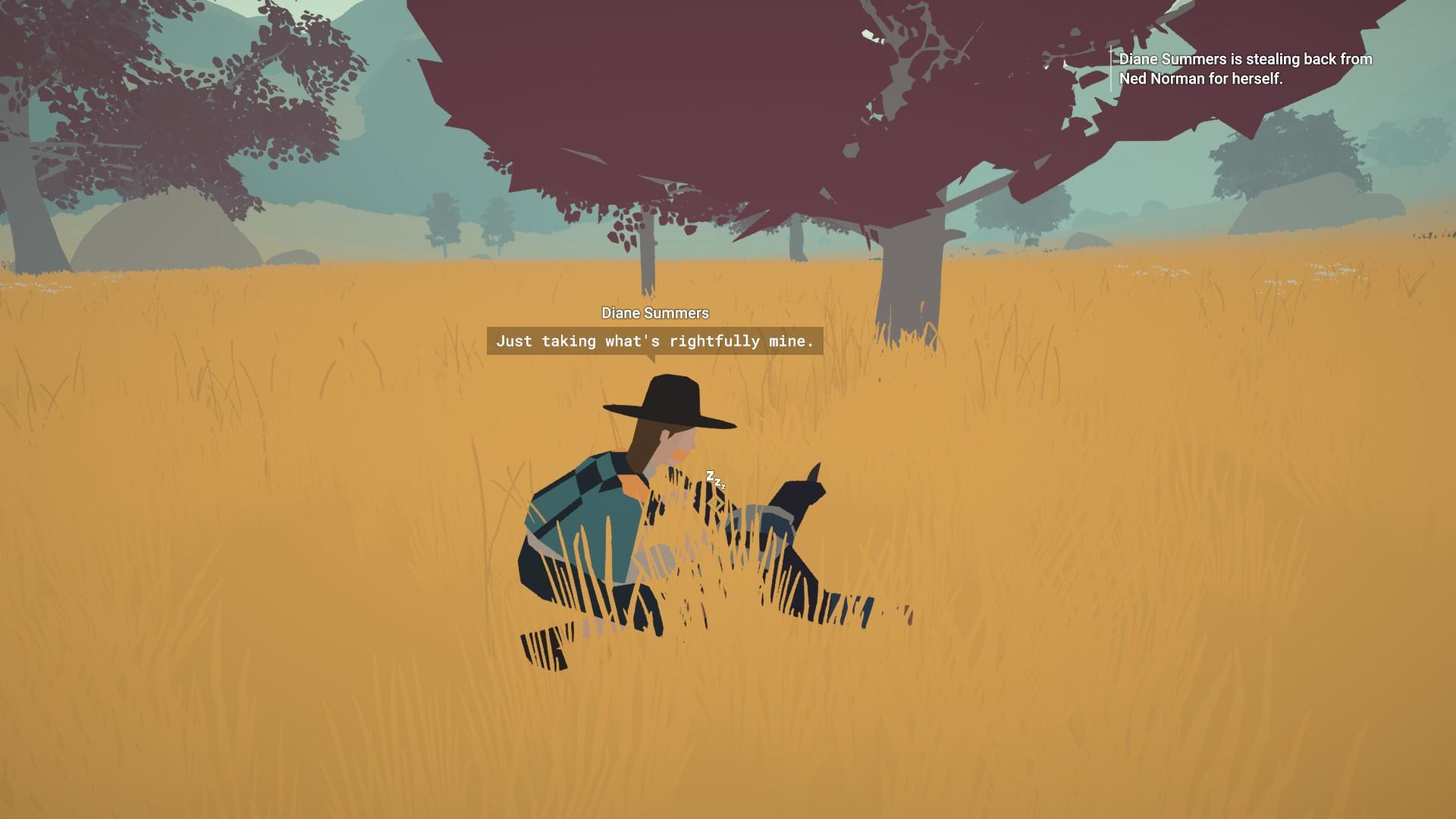 """Diane Summers se agacha sobre un hombre inconsciente en la hierba.  Ella dice: """"Solo tomando lo que por derecho es mío."""""""