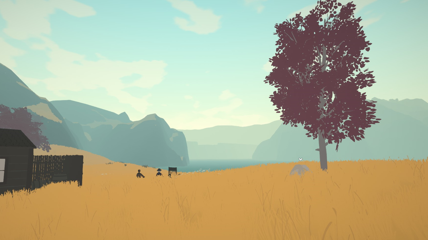 Una vista del paisaje.  Montañas distantes, un lago, un árbol a la derecha, una choza de madera a la izquierda y dos personas sentadas en la alta hierba amarilla contemplando todo.