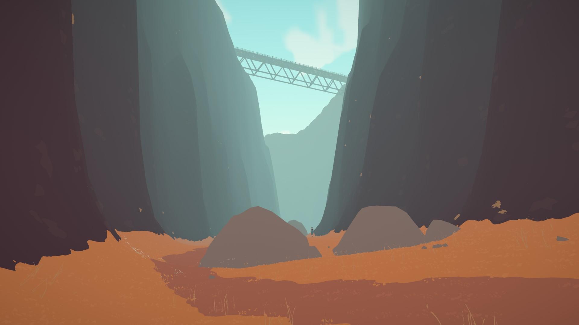 Una vista a nivel del suelo de un cañón muy alto.  Un camino serpentea por el medio y un puente por encima.  Dos grandes cantos rodados en la distancia media, entre los cuales camina una figura humana desconocida.