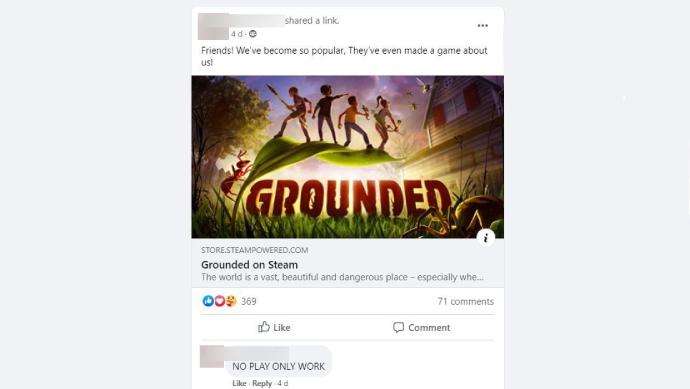 Otra captura de pantalla de una publicación en el grupo de Facebook de la colonia de hormigas, esta vez un enlace a la página de la tienda Steam del juego.  Se titula '¡Amigos!  ¡Nos hemos vuelto tan populares que incluso han creado un juego sobre nosotros!  El primer comentario en la publicación dice NO JUGAR SOLO FUNCIONA