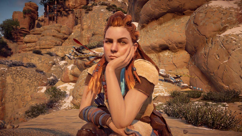 Una captura de pantalla de Aloy con la cabeza en la mano de Horizon Zero Dawn.