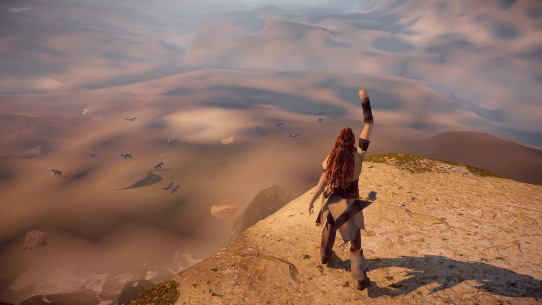 Una captura de pantalla del mundo con fallas de Horizon Zero Dawn, que muestra nada más que cyber dinosaurios en un paisaje marrón yermo.