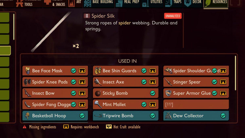 Spider Silk en Grounded se usa en la construcción de muchos equipos de Nivel 2, así como en otras creaciones útiles.
